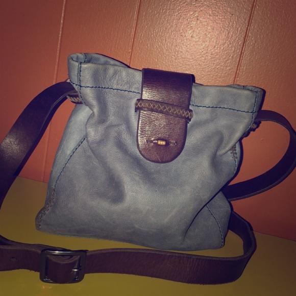 24a500d3b15c Lucky Brown Soft Blue Leather Crossbody Bag